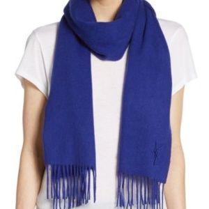 YSL Blue Wool Scarf